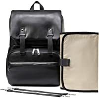 LCY PU Leather Multi-Function Large Baby Nappy Changing Bag Backpack with Changing Pad & Stroller Straps-Black