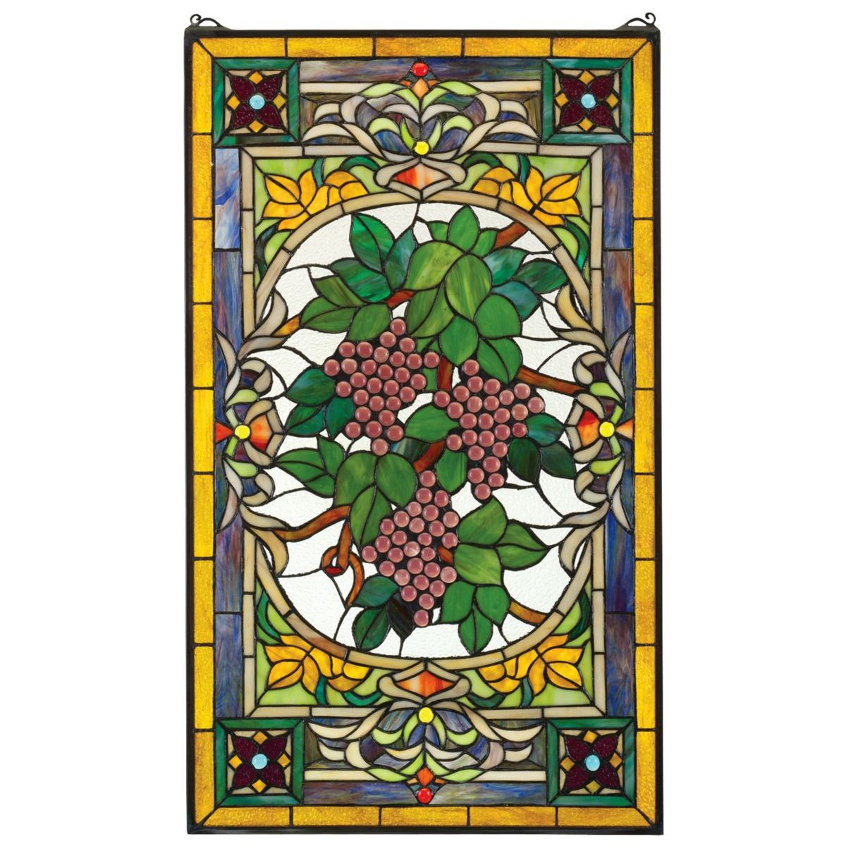 Stained Glass Panel - Fruit of the Vine Grape Stained Glass Window Hangings - Window Treatments by Design Toscano