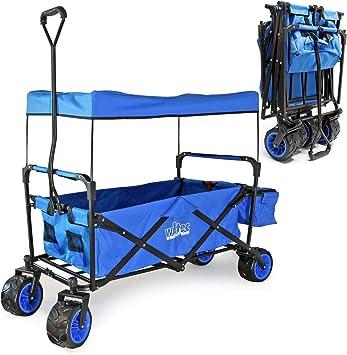WilTec Carrito Plegable de Mano con Capota Amplia Superficie de Carga Carro Transporte Carrito de jardín: Amazon.es: Coche y moto