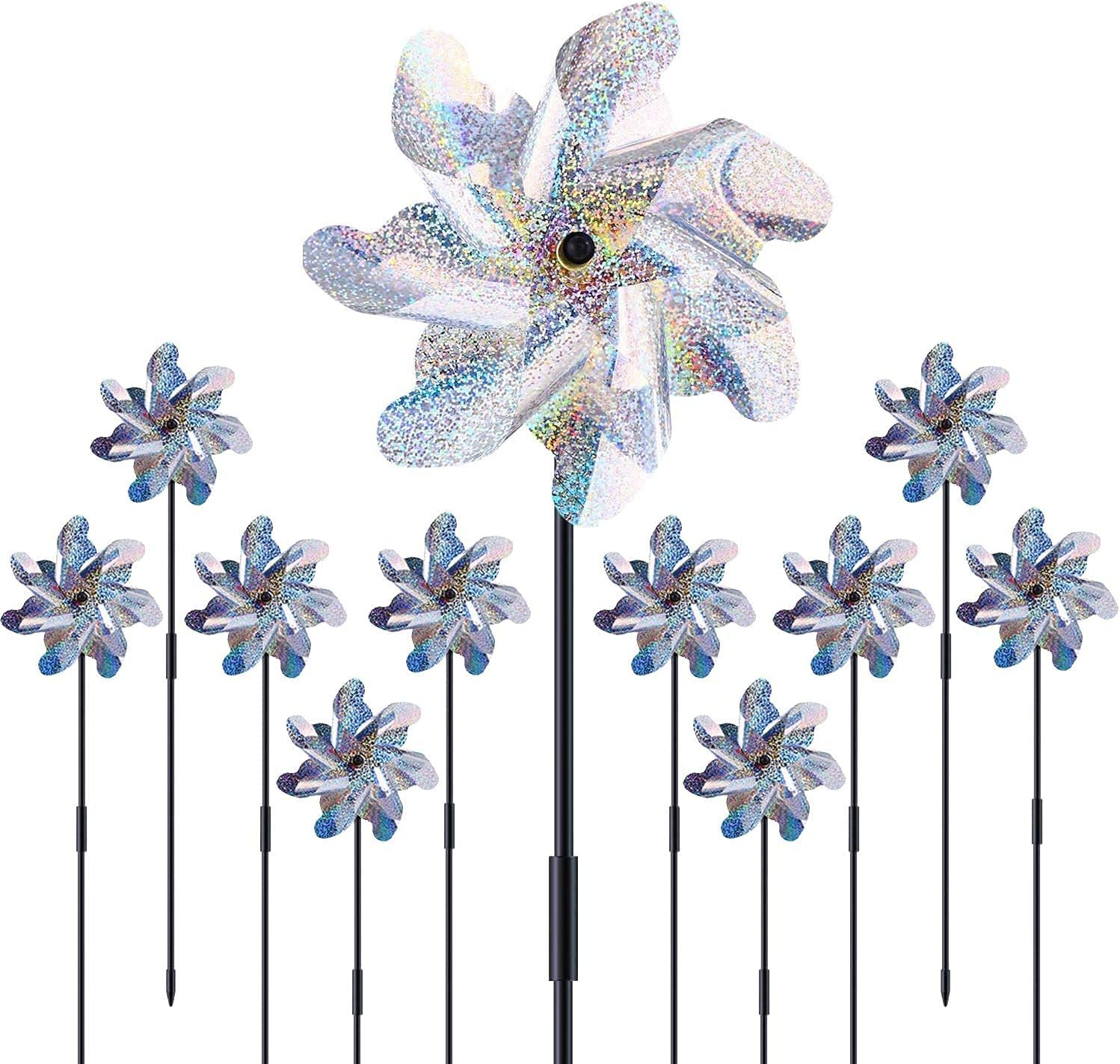 ELECTRFIRE Pinwheels Reflective with Stakes 10 Pack for Garden and Yard, Extra Sparkly Pin Wheel for Garden Decoration, Outdoor Wind Catcher