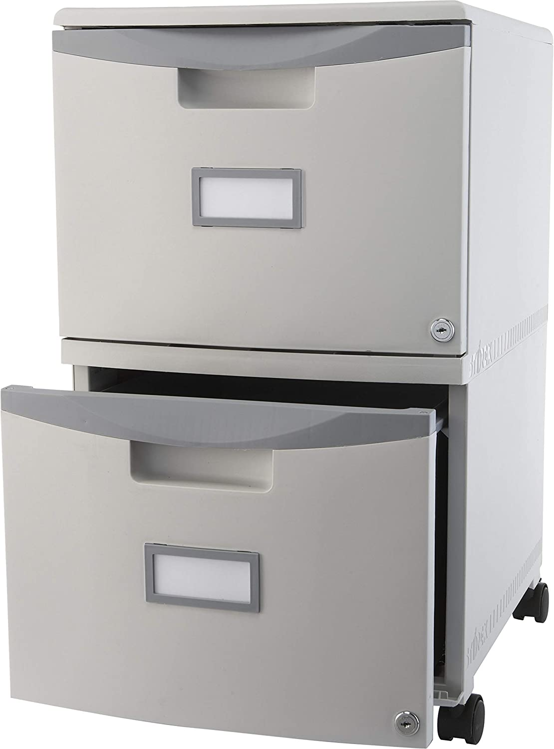 Storex Two Drawer Mobile File Cabinet With Lock 14 125 X 31 75 X 10 625 Inch Gray 61301b01c Amazon Ca Office Products