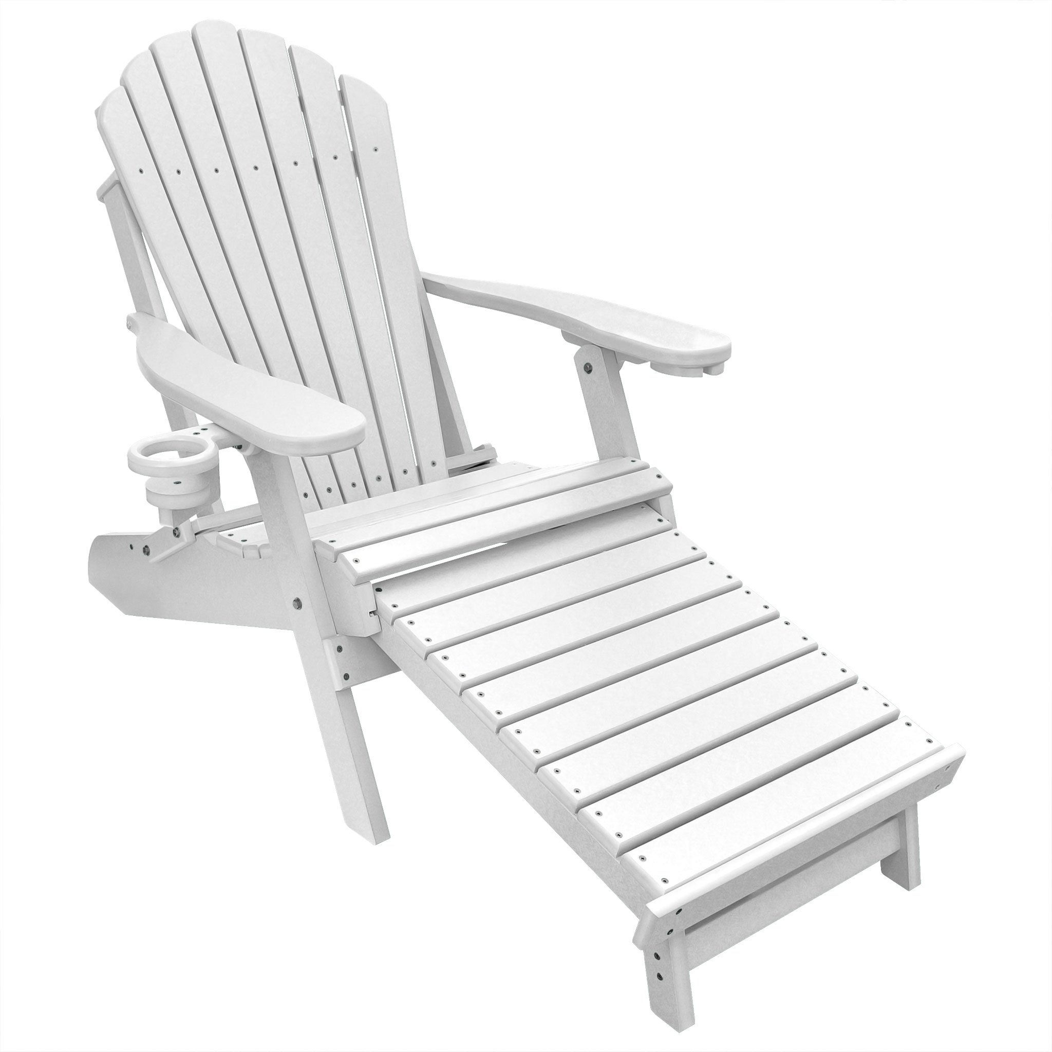 ECCB Outdoor Outer Banks Deluxe Oversized Poly Lumber Folding Adirondack Chair with Integrated Footrest (White) …