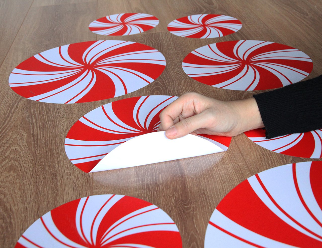Peppermint Floor Decals Stickers for Christmas Candy Party Decoration 8 Pcs by ceiba tree (Image #4)