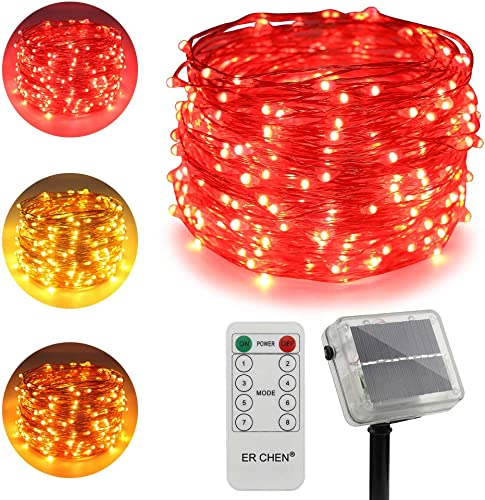 ErChen Dual-Color Solar Powered LED String Lights, 100FT 300 LEDs Remote Control Color Changing 8 Modes Copper Wire Decorative Fairy Lights for Outdoor Garden Patio Warm White, Red