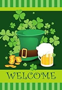 """Texupday Welcome Shamrock Hat Beer Decoration Double Sided St. Patrick's Day House Flag Outdoor Yard Decor 28"""" x 40"""""""