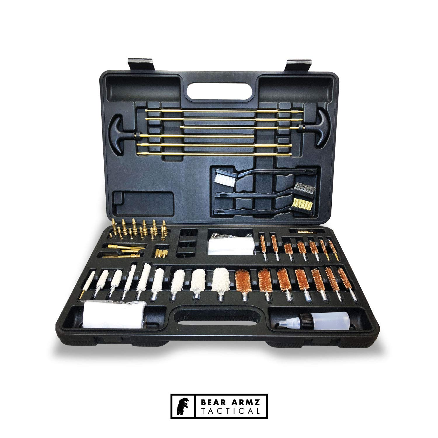 Bear Armz Tactical Gun Cleaning Kit I Gun Cleaning Kit for Handguns, Rifles, Muzzle Loaders, Shotguns and Pistols I Works with All Calibers .17- .50 Cal (Black Case with Brass Jags and Loops)