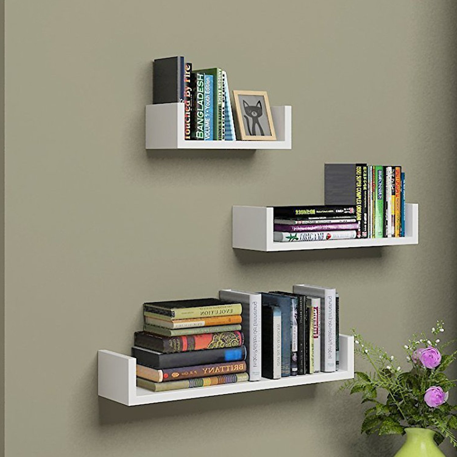 Mewalker Floating Wall Shelves, U Shaped Bathroom Shelves Set of 3 Display Shelf for Home Decoration (US Stock) (White)
