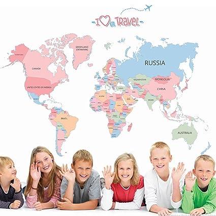 Amazon yihopainti world map wall stickers color english yihopainti world map wall stickers color english alphabet world map wall decals gumiabroncs Choice Image