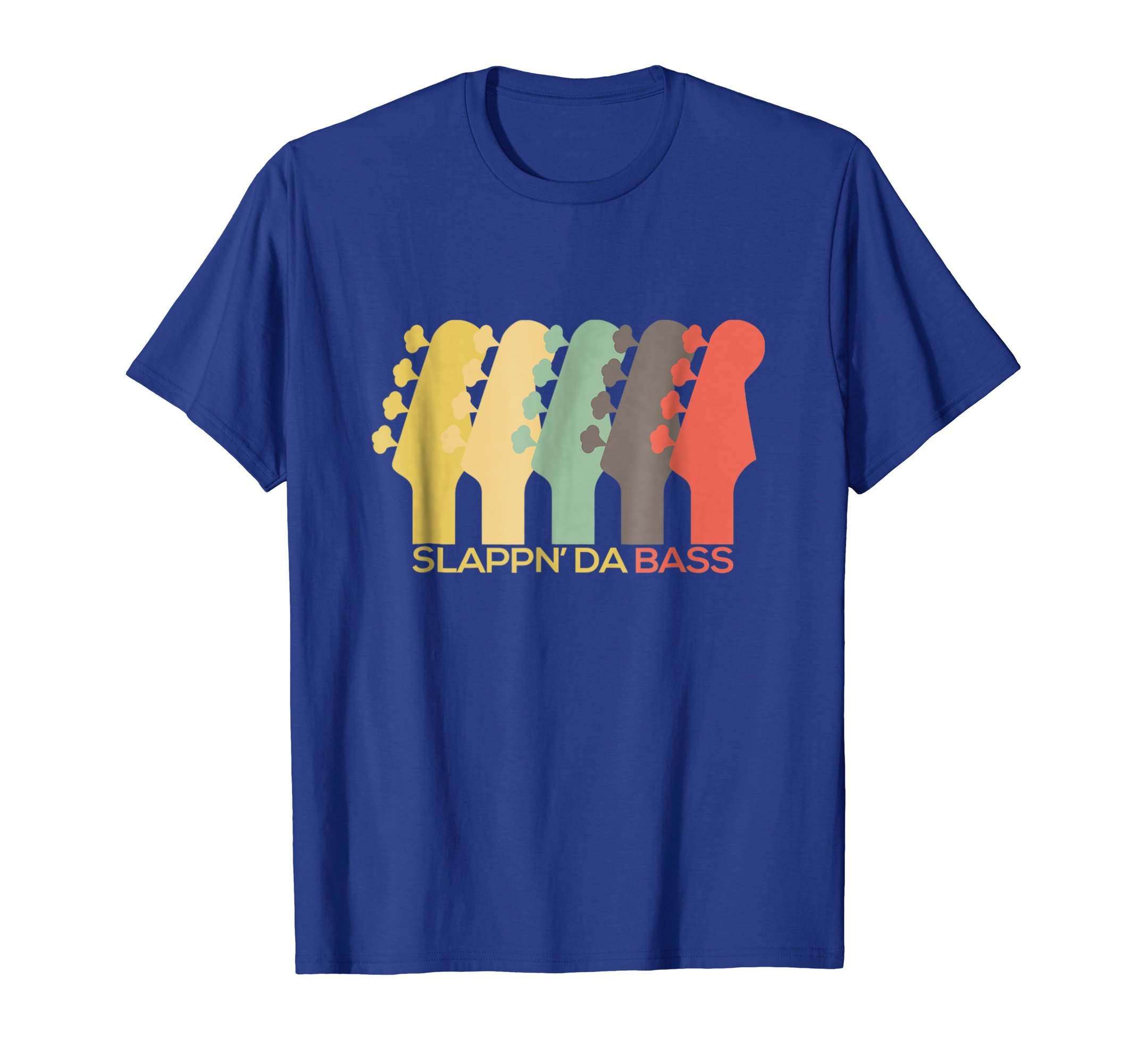 Mens Vintage Bass Guitar T-Shirt Guitar Headstock Gift for Men Small Royal Blue