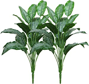 """Beebel Artificial Plants 23"""" Shrubs Stems Taro Leaf Faux Ficus Plant Indoor Outdoor Greenery for Floral Arrangement Farmhouse Home Garden Wedding Patio Indoor Decor 2 Branches"""