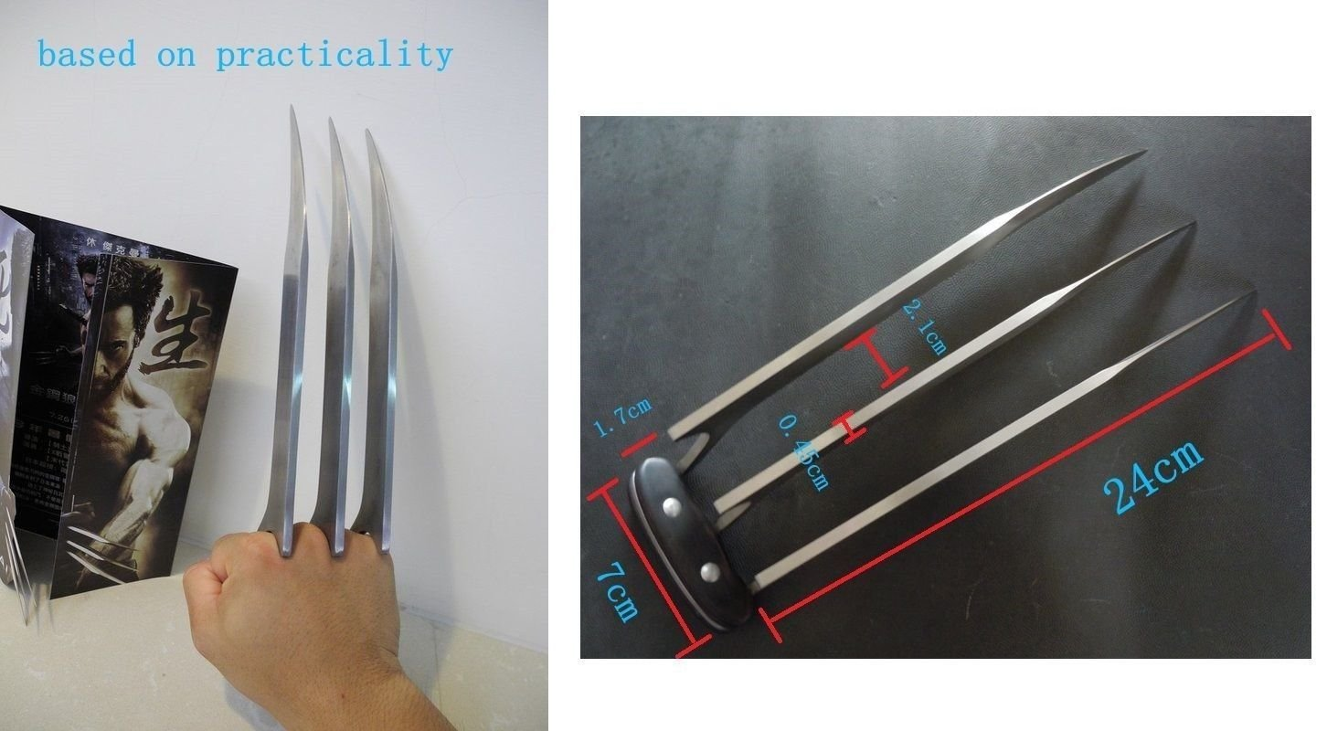 One Pair of Stainless Cosplay Steel Wolverine Claws by Vulcan Gear
