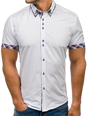 BOLF Herren Hemd Casual Kurzarm Shirt Slim Fit Freizeithemd Men 2B2 Motiv   Amazon.de  Bekleidung e8e9739dd7