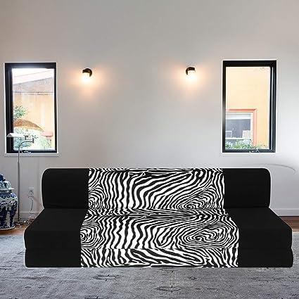 Astounding Adorn Homez 3 Seater Folding Sofa Cum Bed With Bean Bag Cover For Living Room Black And Zebra Sofa Set For Hall Living Room Tv Room Guest Room Home Inzonedesignstudio Interior Chair Design Inzonedesignstudiocom