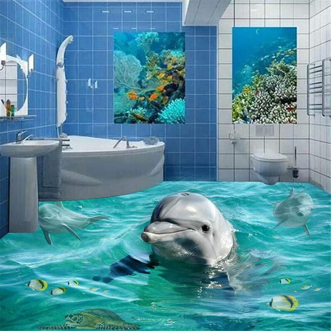 Benutzerdefinierte Foto Boden Tapete 3D Nette Delphin Unterwasserwelt Wohnzimmer Schlafzimmer Badezimmer Boden Wandbild Tapete selbstklebend, 200 * 140 cm