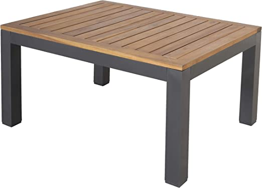 Chicreat - Mesa auxiliar con superficie de acacia, certificado FSC, 70 x 90 x 43 cm: Amazon.es: Jardín