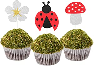 LILIPARTY 24Pcs Glitter Ladybug Cupcake Toppers Flowers Mushroom Cupcake Toppers, Garden Party Cupcake Picks, Ladybug Birthday Baby Shower Party Decoration Supplies Spring Party Decor