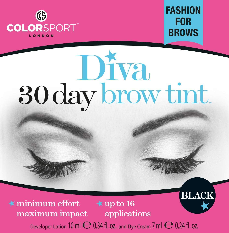 Colorsport Diva - Tinte para cejas (30 días), color negro