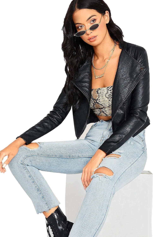SheIn Womens Zipper Front Casual PU Leather Cropped Jacket Long Sleeve Bolero
