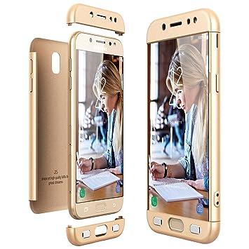 CE-Link Funda Samsung Galaxy J5 2017, Carcasa Fundas para Samsung Galaxy J5 2017, 3 en 1 Desmontable Ultra-Delgado Anti-Arañazos Case Protectora - Oro
