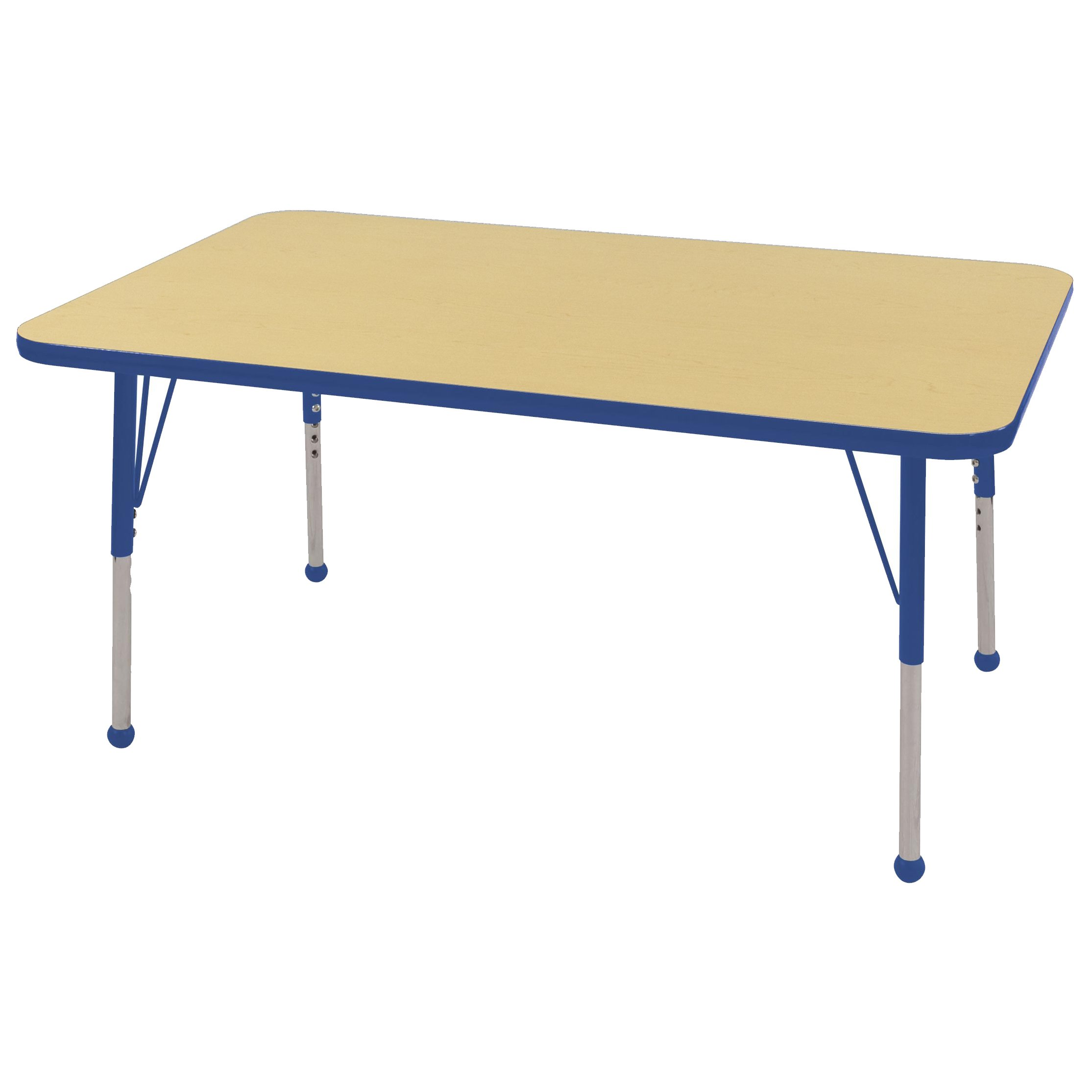 ECR4Kids Mesa T-Mold 30'' x 48'' Rectangular School Activity Table, Standard Legs w/Ball Glides, Adjustable Height 19-30 inch (Maple/Blue)