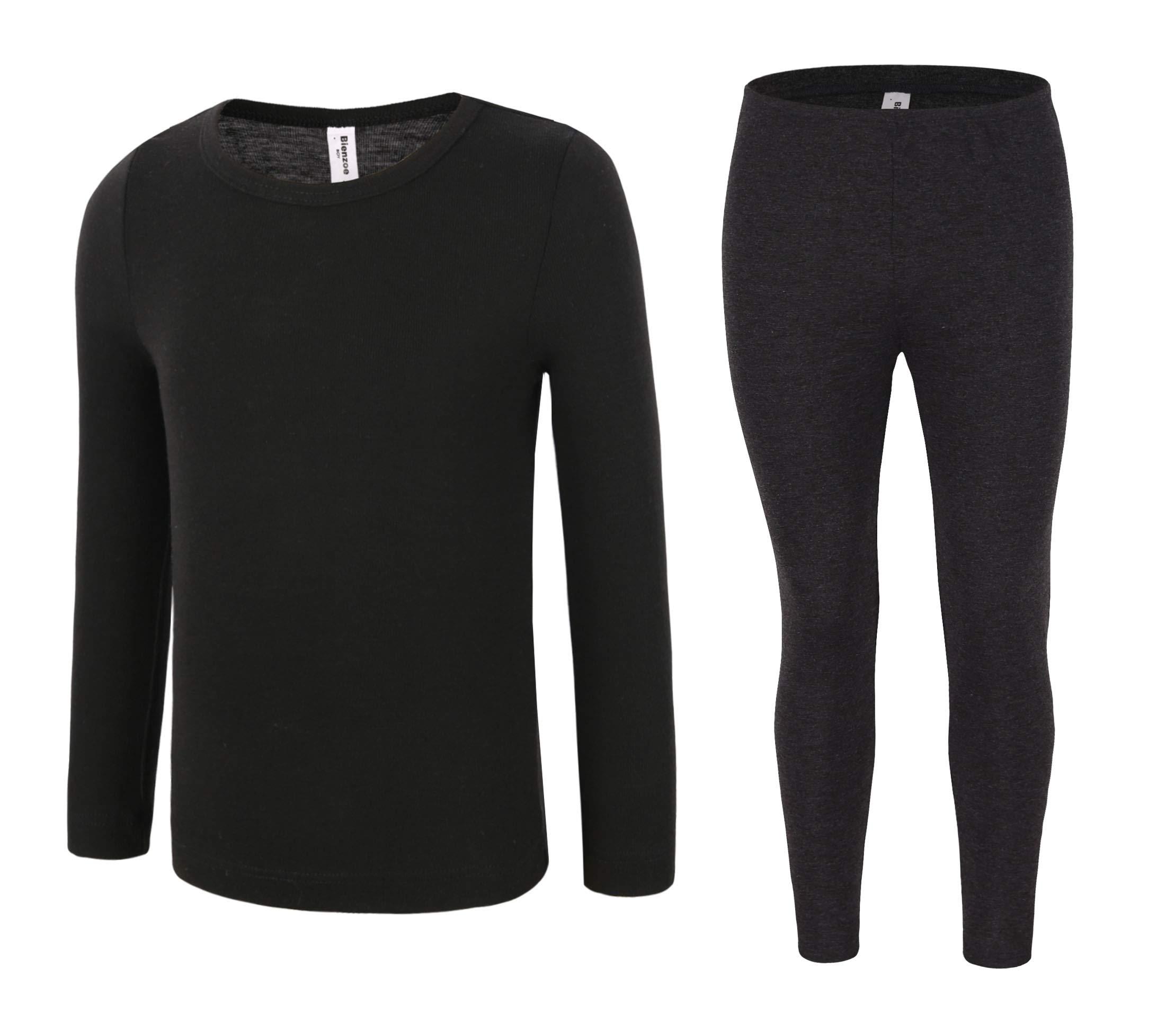 Bienzoe Boy's High Tech Fiber Thermals Long Johns Tops & Pants Set 10/12 Black by Bienzoe