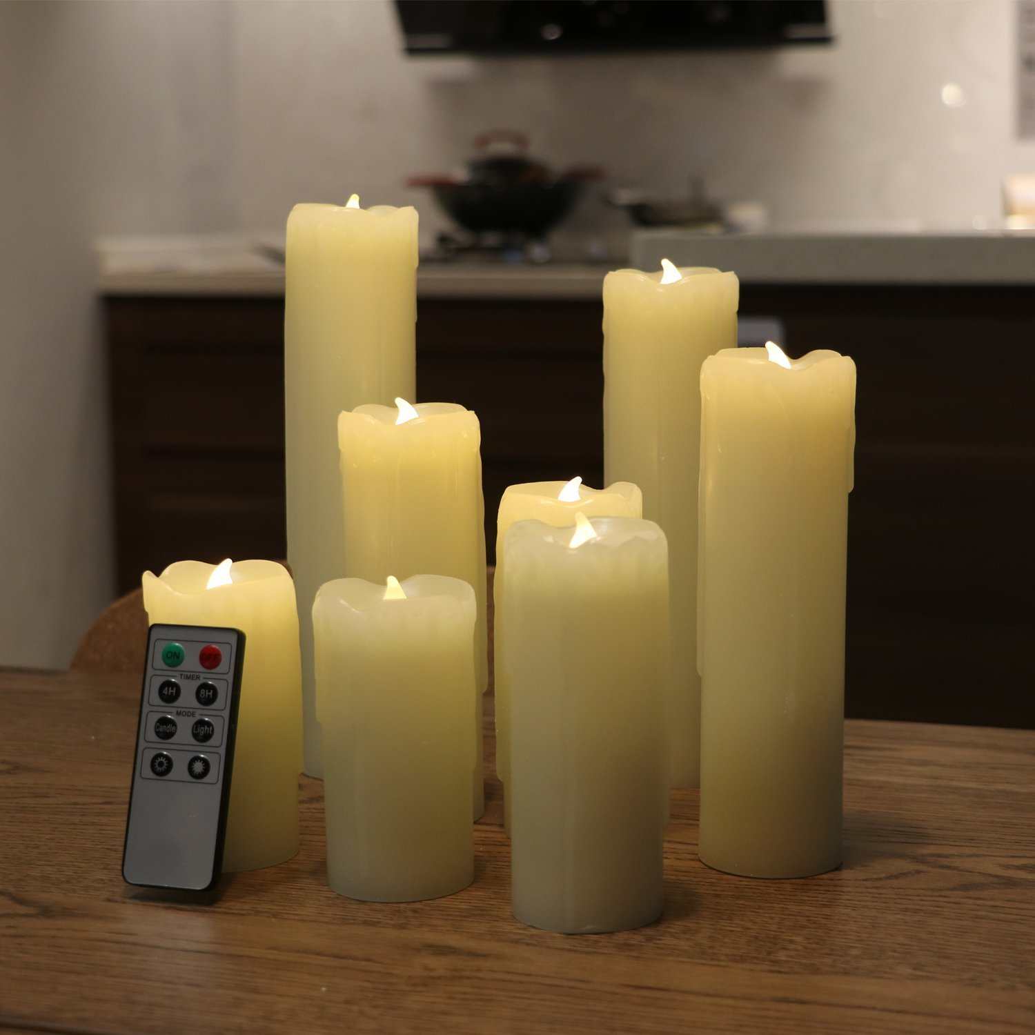 Set of 8 Flameless LED Candles with Timer, Battery Operated Candles with Remote Control, Ivory Wax Drip Finish, H4''/5''/6''/7''/8'', Long Lasting Batteies Included by Rhytsing (Image #2)