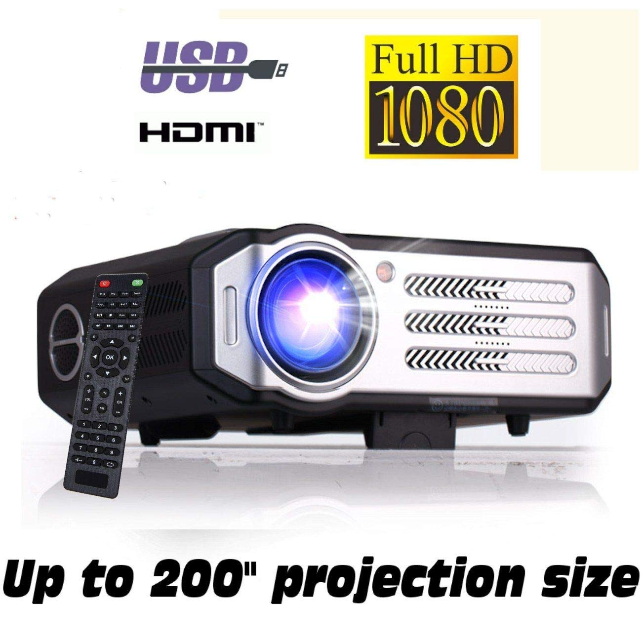Proyector Full HD 1080P, XSAGON(2018 Nuevo modelo)Proyectores 2200LMS (3500 LED) Lúmenes Portátil Proyectores LED, LCD 1920x1080, 2 HDMI, VGA, 2 USB, ...