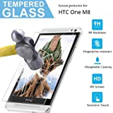 HTC One M8 Tempered Glass Screen Protector,[Ultra-Clear] 9H Hardness HD Clear Scratch Resistant Tempered Glass Screen Protector for HTC One M8