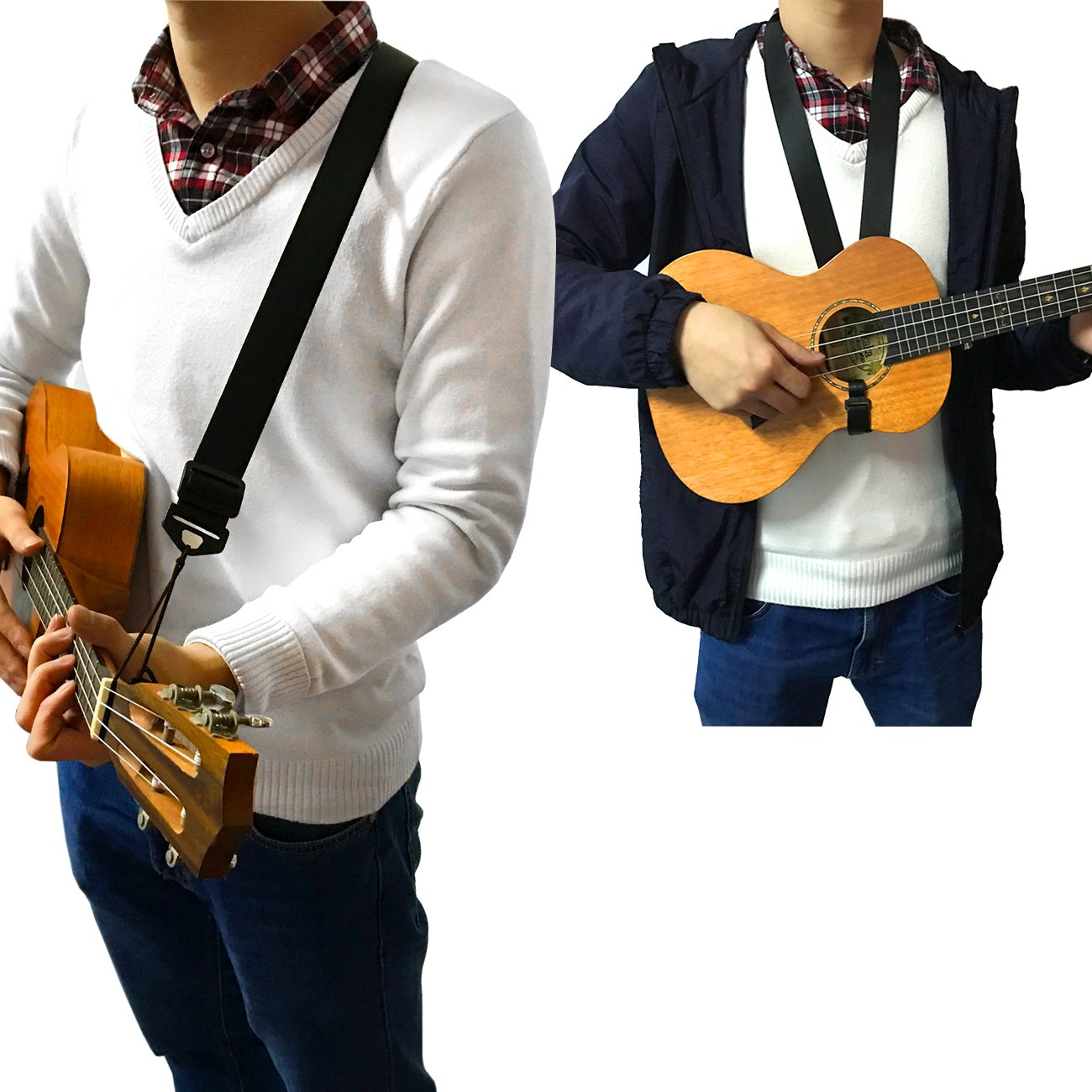 Double Use Adjustable Nylon Ukulele Strap - Can be Use as Ukulele Neck Strap or Ukulele Shoulder Strap (BLACK) 4334223320