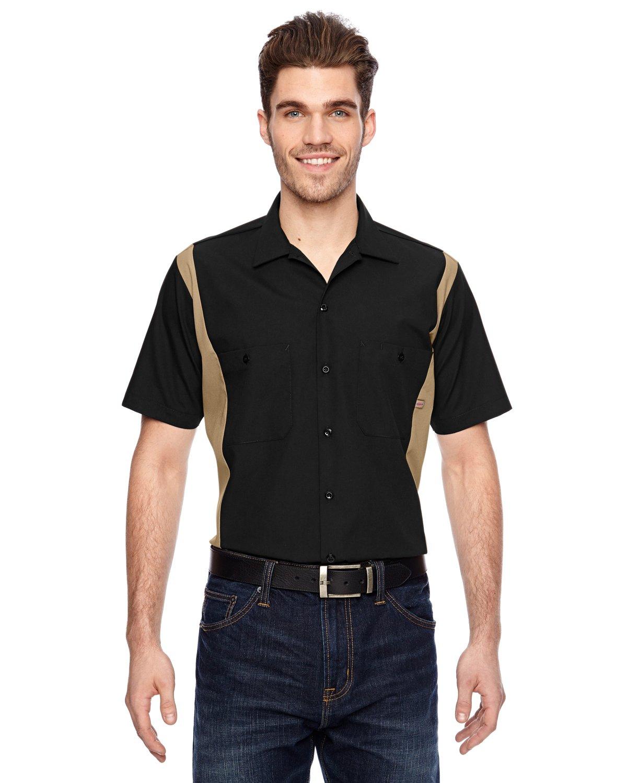 Dickies Occupational Workwear LS524BKDS 4XL Polyester/Cotton Men's Short Sleeve Industrial Color Block Shirt, 4X-Large, Black/Desert Sand