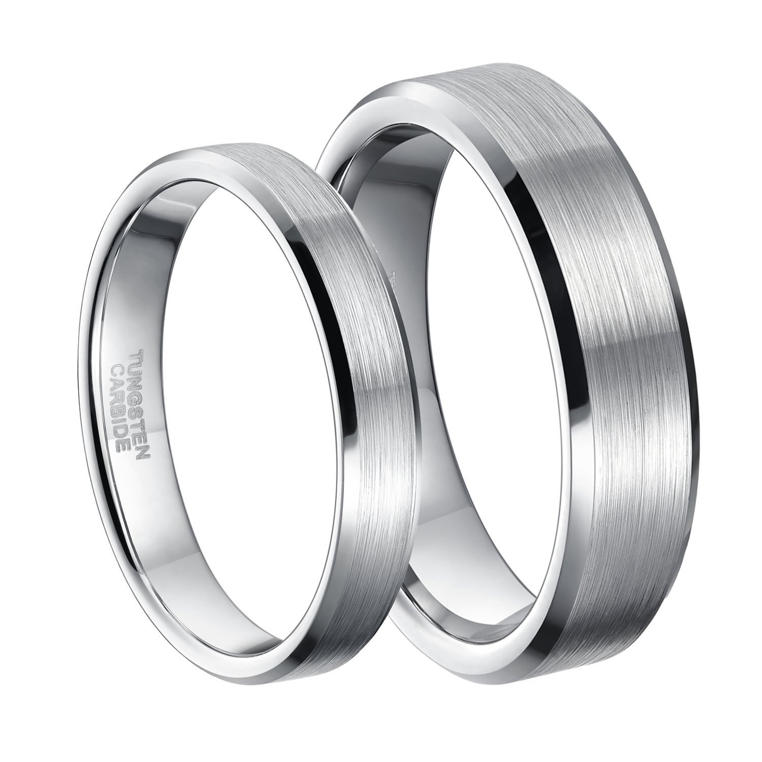 6mm Silver Tungsten Carbide Ring for Men Women Beveled Edge Unisex Brushed Wedding Band Size 8.5