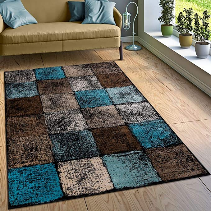 Paco Home Alfombra Diseño Salón Colores Originales Cuadros Turquesa Marrón Crema, tamaño:160x220 cm