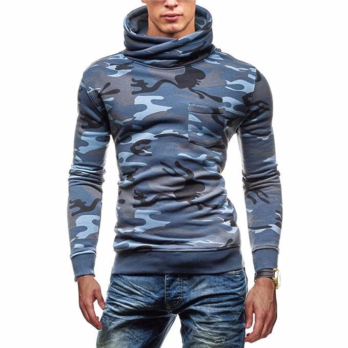 Yannerr Hombres Camuflaje Suéter Tipo con Cuello de Tortuga Abrigo Invierno Acolchado Gruesa Caliente Chaqueta Sudadera