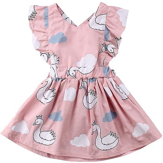 04c548532c2c Annvivi Kids Baby Girls Pink Swan Sleeveless Sunsuit Outfit Cross Bowknot  Princess Dress,1-