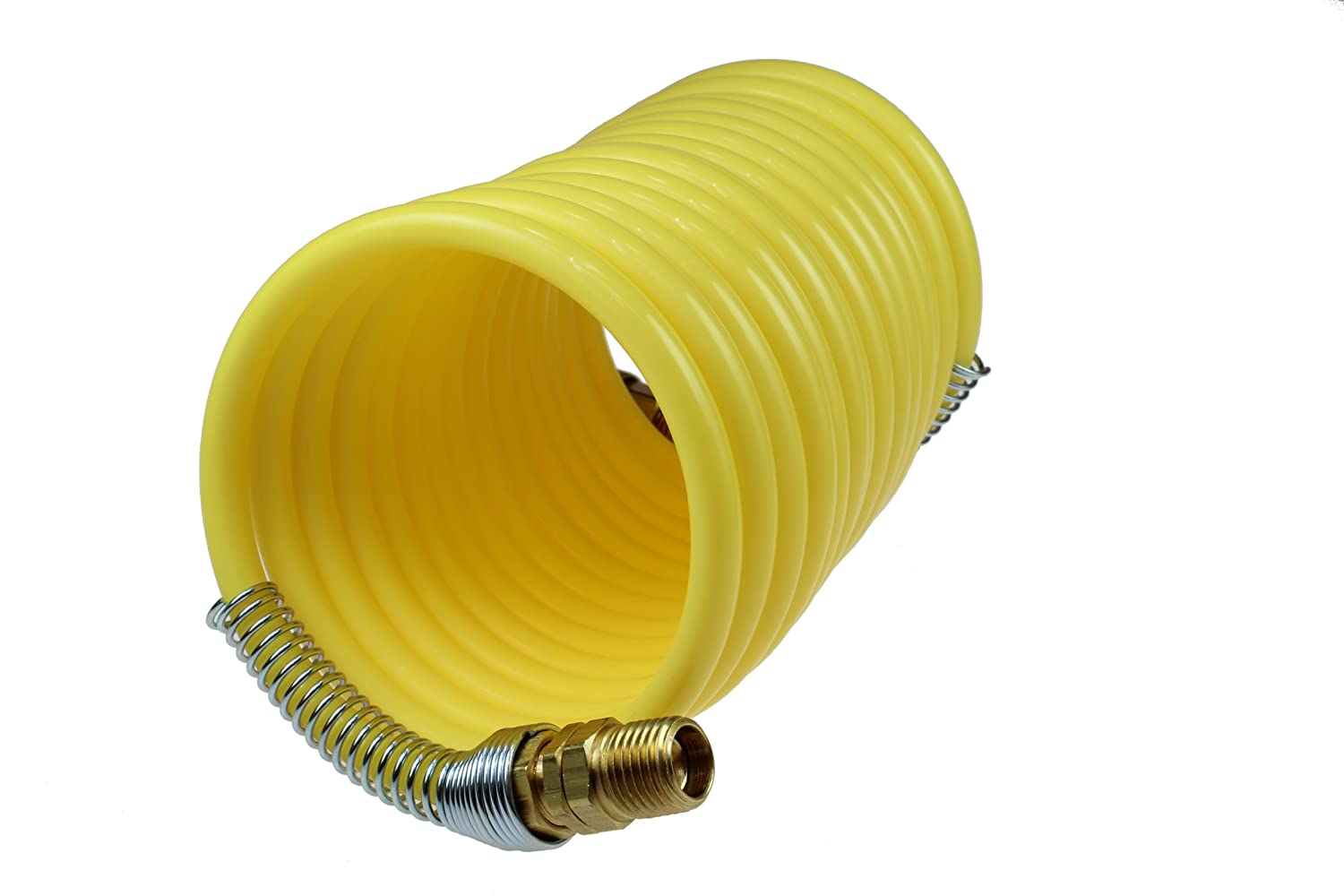 2 3//8-Inch Swivel Fittings Coilhose Pneumatics N38-12B Coiled Nylon Air Hose 3//8-Inch ID 12-Foot Length with