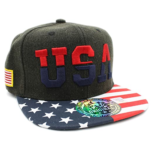 LAFSQ Embroidered USA American Flag Snapback Cap (USA DK Olive) at ... b8c860b5b03