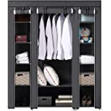 BRIAN & DANY Large Portable Clothes Closet Canvas Wardrobe Storage Organizer with Shelves 150cm x 45cm x 175cm