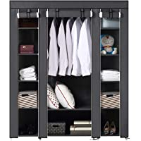 BRIAN & DANY Large Portable Clothes Closet Canvas Wardrobe Storage Organizer with Shelves 150cm x 45cm x 175cm