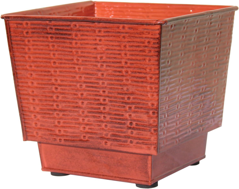 Robert Allen Home & Garden MPT01859 Metal Planter, 10 Inch, Cayenne