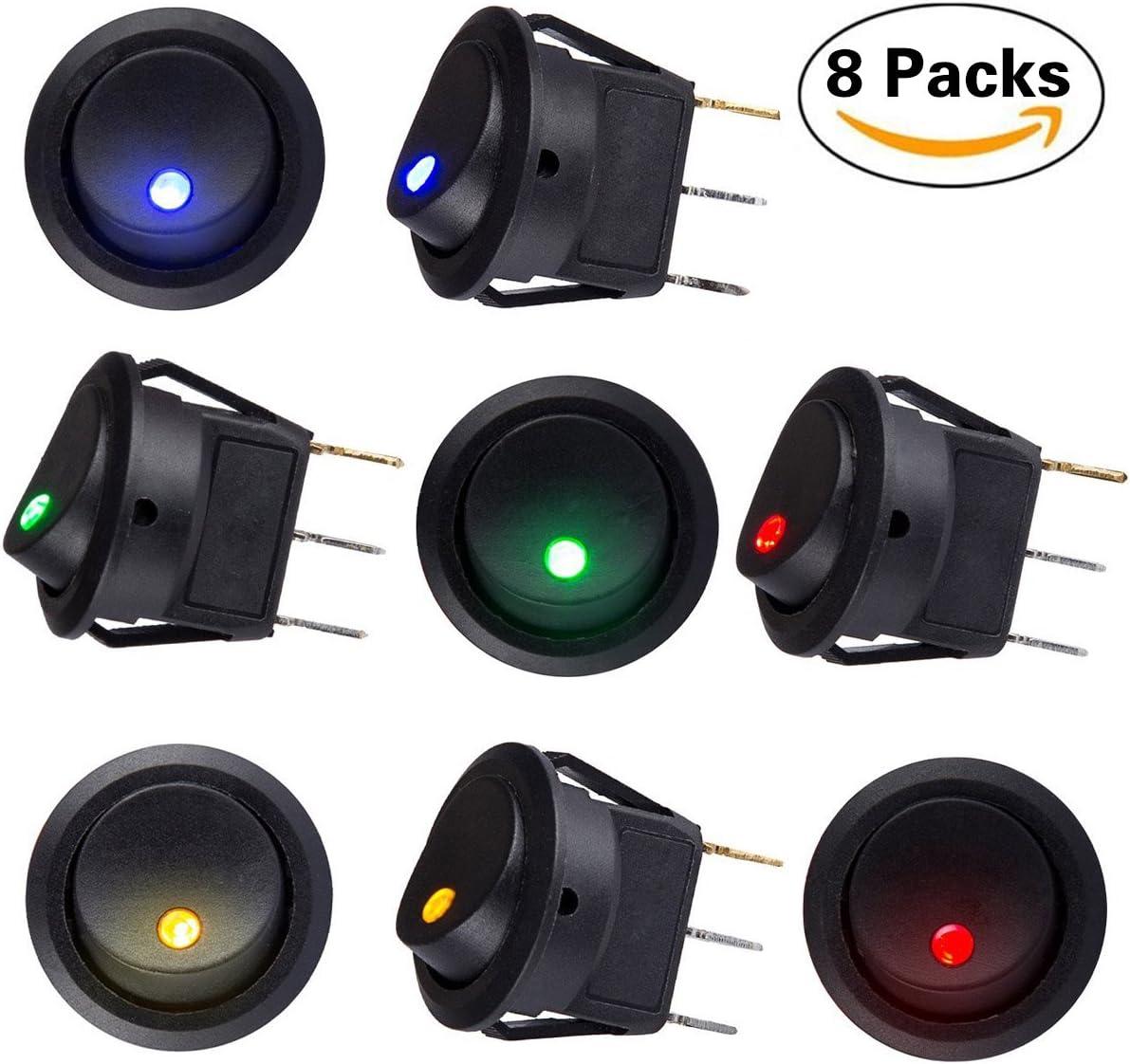 Sunerly - 8 interruptores de encendido/apagado automático con interruptor SPST, con 4 luces LED de 4 colores para coche, barco, camión, remolque. CC de 12 V y 20 A.