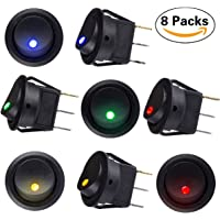 GROOO 8 pcs DC 12V 20A Car Boat Truck Trailer Auto Illuminated Round Rocker Switch Button ON/OFF Toggle SPST Switch with 4 color LED Dot Light