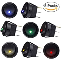 Sunerly 8 pcs DC 12V 20A Car Boat Truck Trailer Auto Illuminated Round Rocker Switch Button ON/OFF Toggle SPST Switch with 4 color LED Dot Light