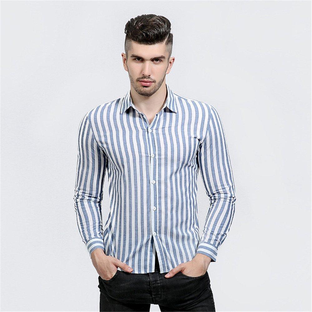 Lixus männer - Mode - Mode - Casual langärmelige Shirt alle treffer Revers Hemd,Blau,XXL