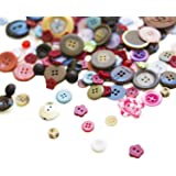 "Scrambled Assortment Bag of Buttons for Arts & Crafts, Decoration, Collections, Sewing, and more! Different Colors and Size from 3/8"" to 1.5"" (100 Pack)"