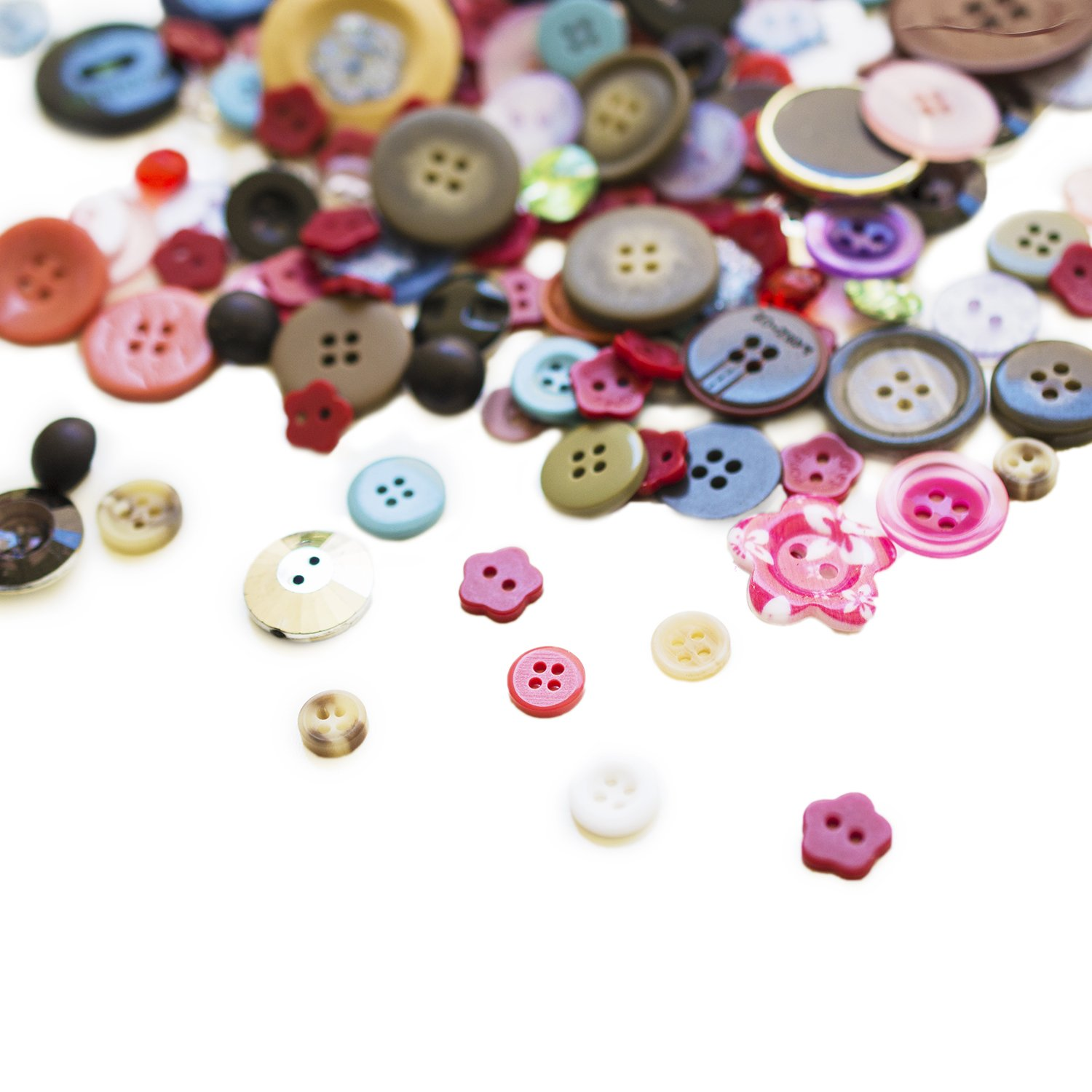 Scrambled Assortment Bag of Buttons for Arts & Crafts, Decoration, Collections, Sewing, and more! Different Colors and Size from 3/8 to 1.5 (100 Pack) Super Z Outlet SZ041