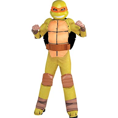 Amscan Teenage Mutant Ninja Turtles Michelangelo Muscle Halloween Costume for Boys, Large, with Included Accessories