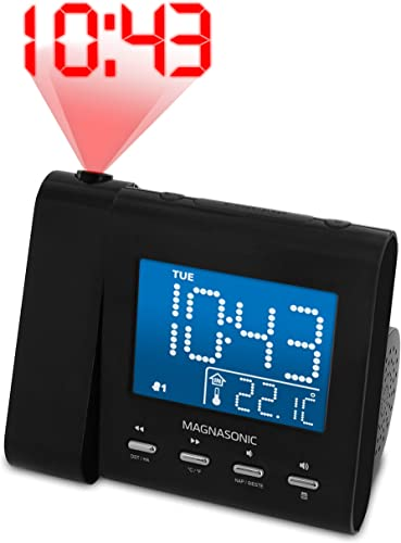 Magnasonic Projection Alarm Clock with AM FM Radio, Battery Backup, Auto Time Set, Dual Alarm, Sleep Timer, Indoor Temperature Day Date Display Bonus 3.5mm Aux Stereo Cable