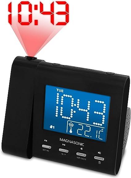 Magnasonic Projection Alarm Clock with AM/FM Radio, Battery Backup, Auto  Time Set, Dual Alarm & 3.5mm Audio Input (EAAC601): Home Audio & Theater -  Amazon.com