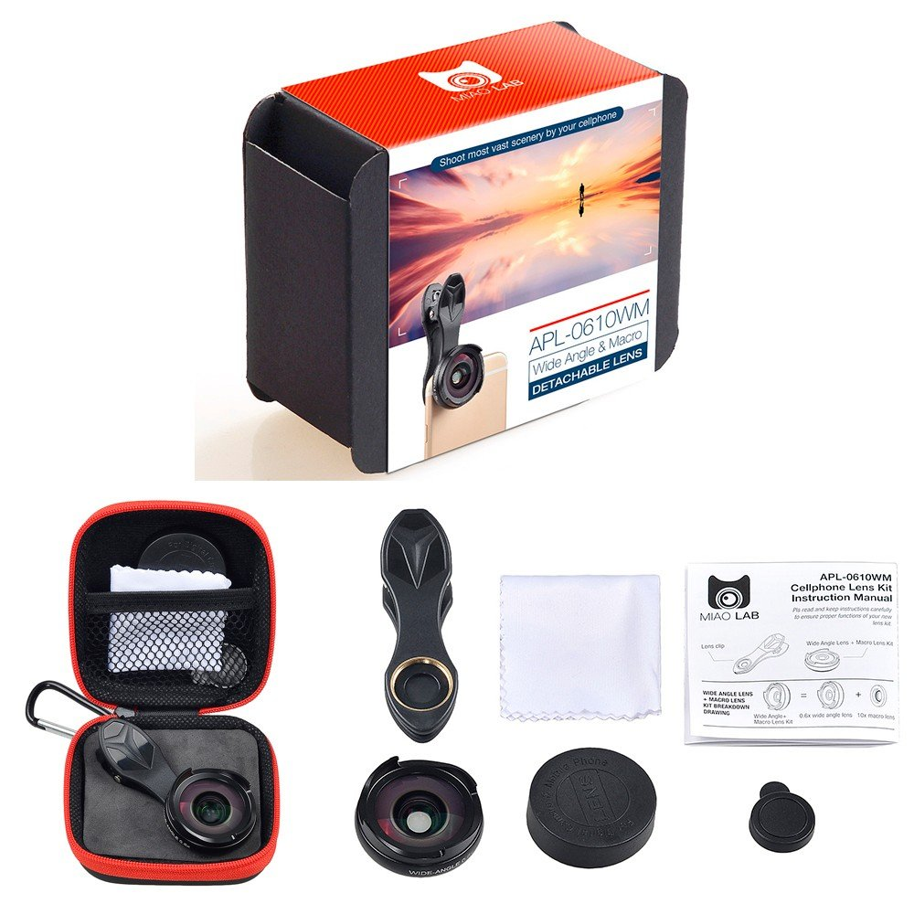 BPSMedia HD High Quality Mobile Phone Camera Lens Kit - 4K Wide Angle + Aspheric Macro with Lens Hood, Universal Clip-On Cell Phone Camera Lenses Kit for iPhone, Samsung, Smartphones and Tablet (Red) 4326945386
