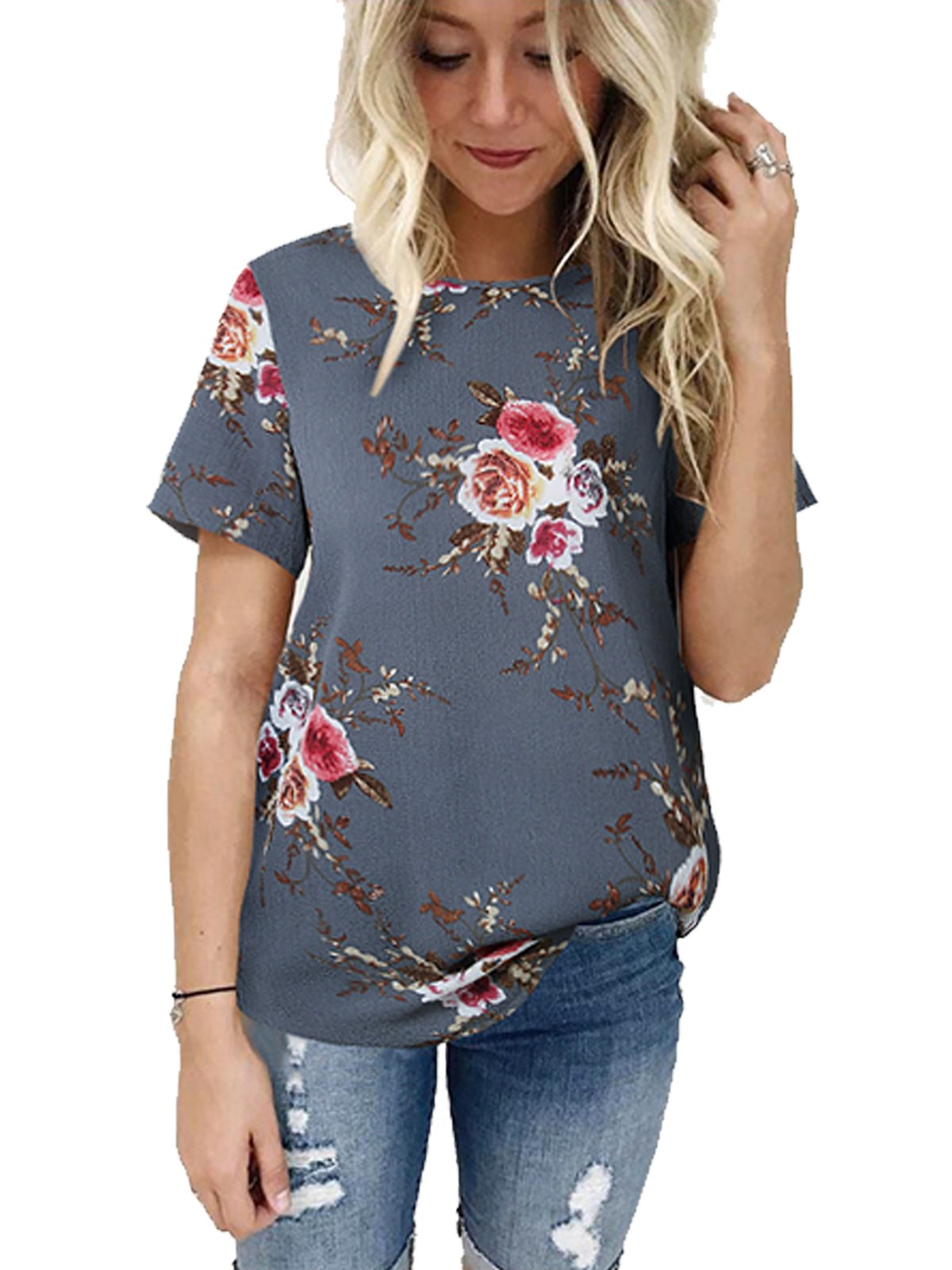 VYNCS Women's O Neck Short Sleeve Casual T-Shirt Chiffon Floral Print Tops Blouse for Summer (Grey, X-Large)